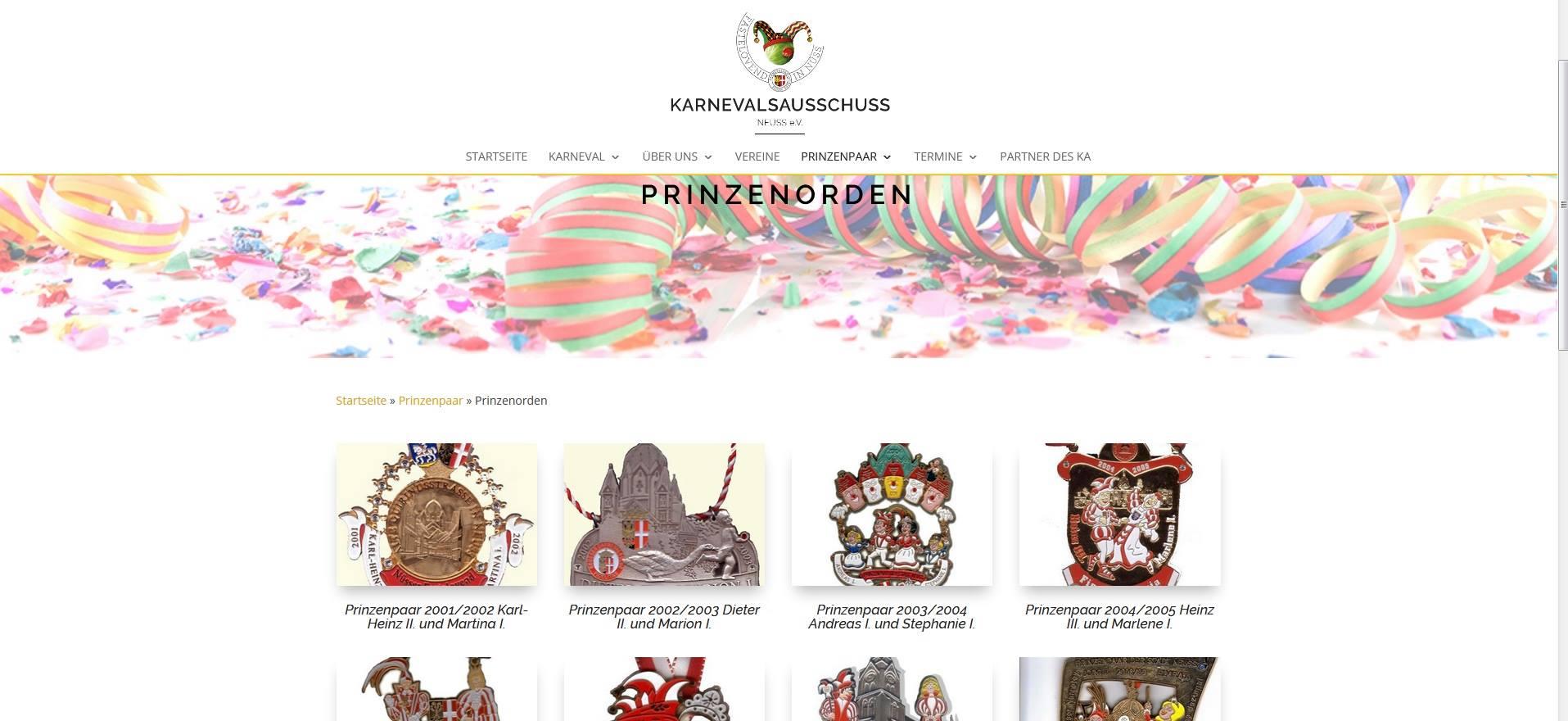 Screenshot der Seite der Prinzenorden mit allen Ordnen und den dazugehörigem Prinzenpaar von www.ka-neuss.de