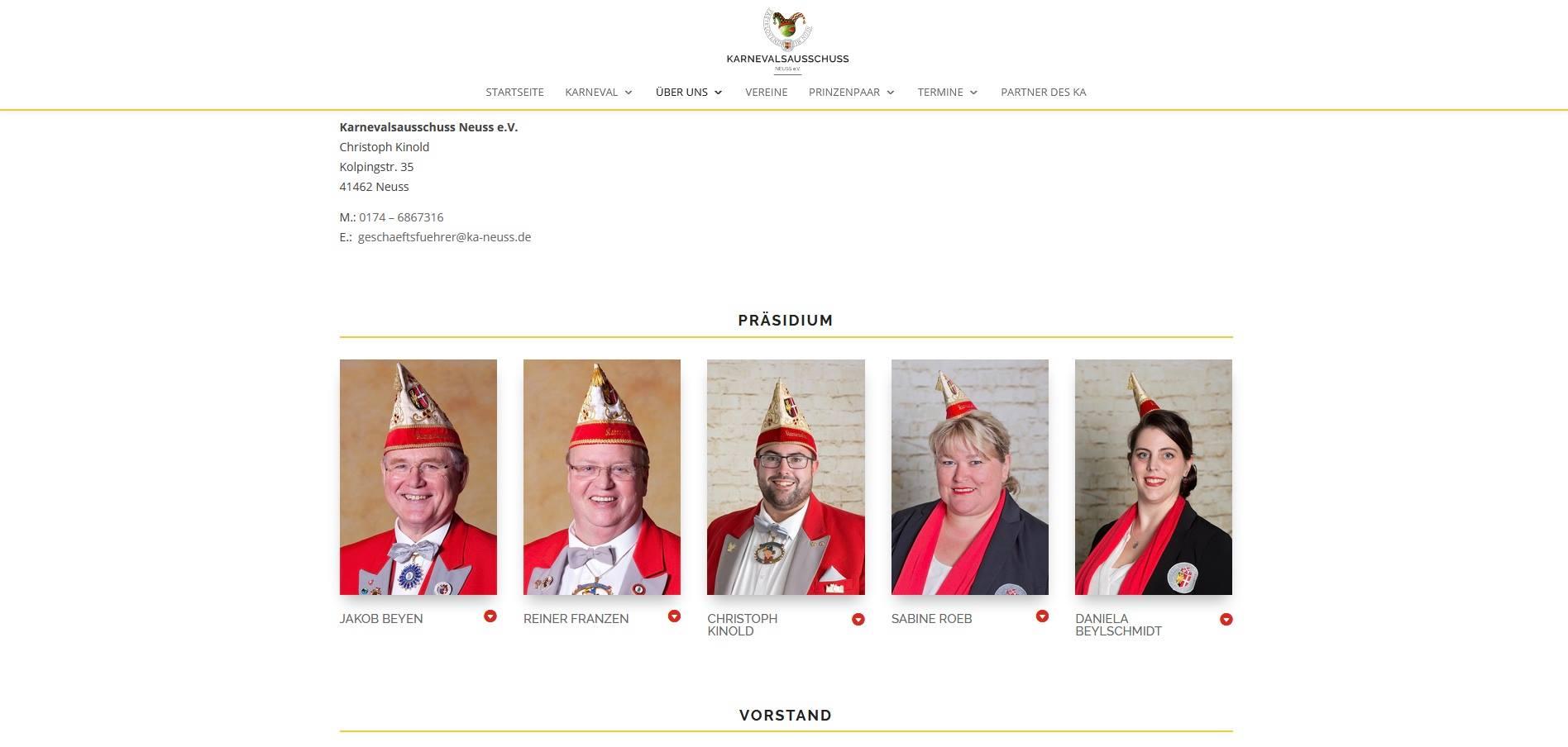 """Screenshot der Seite """"Präsidium"""" mit Bildern und Kontaktdaten zu den entsprechenden Personen von www.ka-neuss.de"""