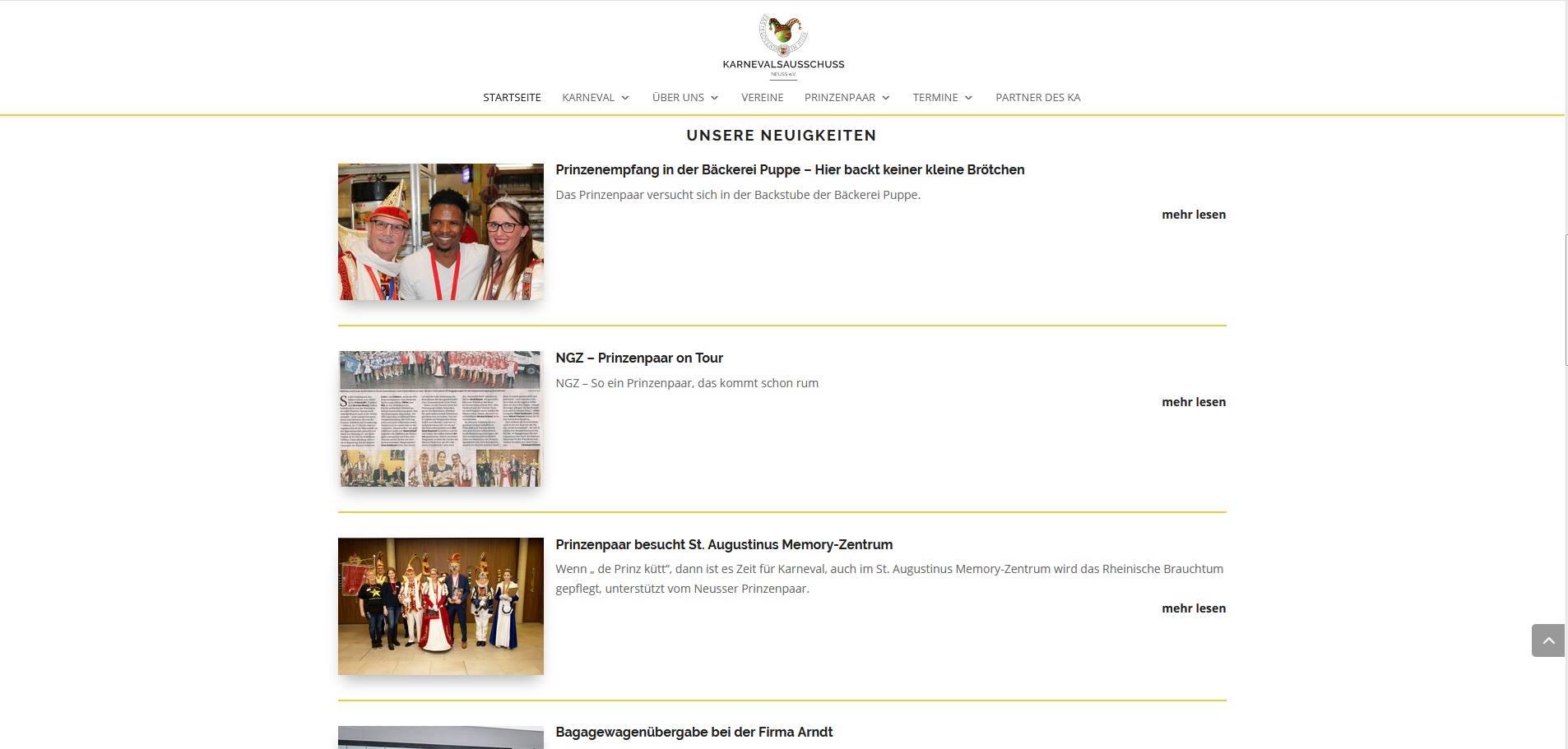 """Screenshot der Seite """"Unsere Neuigkeiten"""" mit Bild und Kurzbeschreibung von www.ka-neuss.de"""