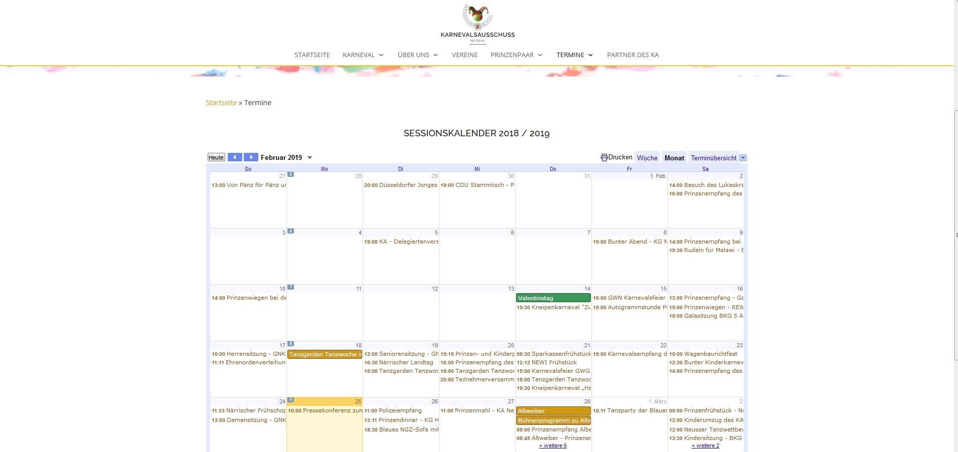 Screenshot des Sessionskalender als eingebundener Google Kalender von www.ka-neuss.de