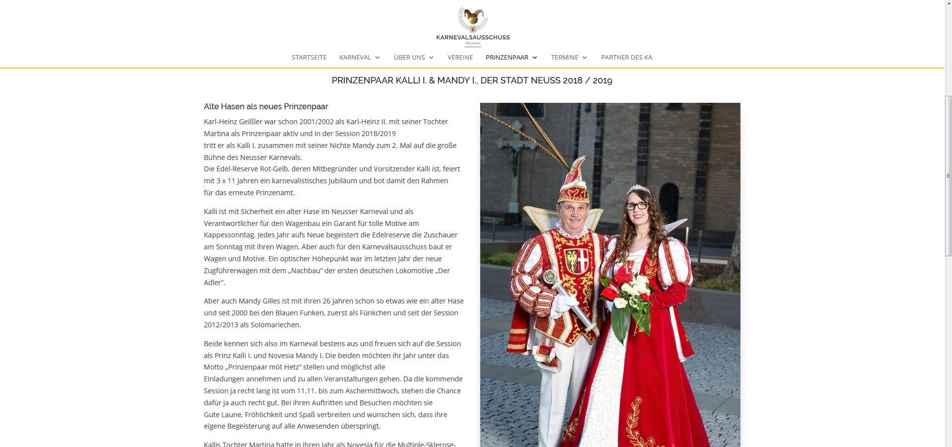 Screenshot der Seite für das Prinzenpaar mit einem Bild und Text von www.ka-neuss.de